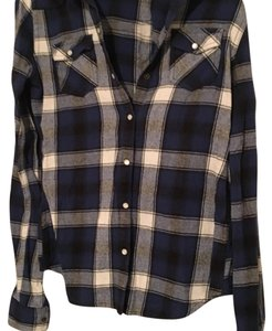 Mossimo Supply Co. Button Down Shirt Black, Blue, & White
