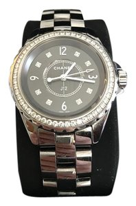 Chanel J12 38mm stainless steel diamond watch