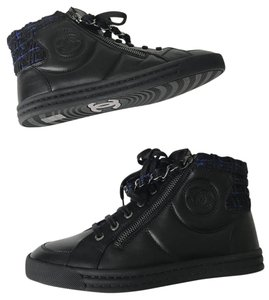 Chanel Boots Booties Ankle Boots Sneaker Size 36.5 Navy Blue Black Athletic
