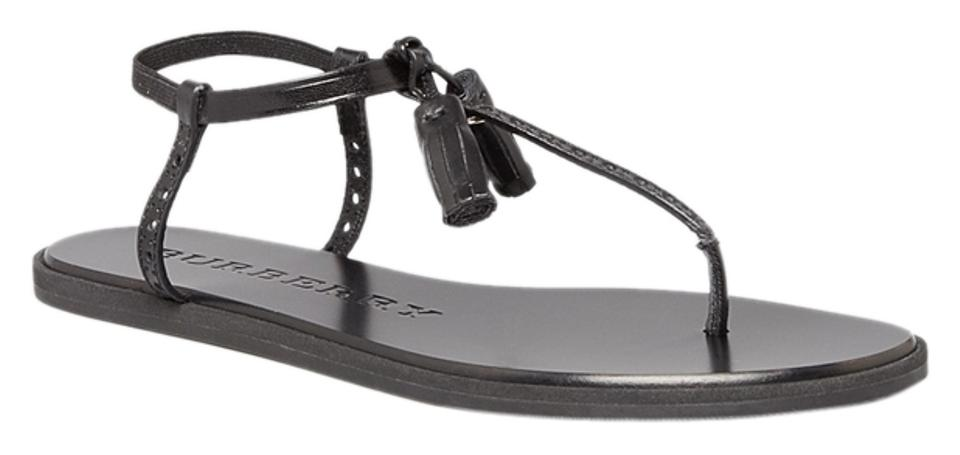 15ffdd86bd3526 Burberry Black Amberley In Leather and Tassels 38.5 Euro  Usa Sandals