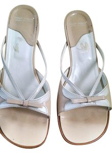 Mila Paoli Cream Beige with White Accent Sandals