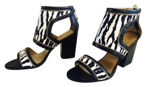 Jessica Simpson Zebra Fur Heels Black, White, Golden Sandals