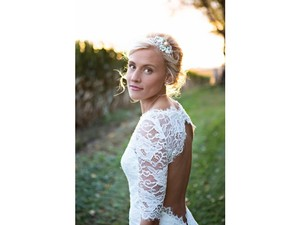 Keyhole Back Lace Wedding Dress Sweetheart Neckline Sleeves Trumpet Wedding Dress