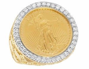 Other 14K Yellow Gold 22K 1/4 OZ Liberty Coin Real Diamond Nugget Ring 1.5CT