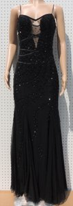 David's Bridal Black Black Shear Beaded Spaghetti Strap Prom Dress