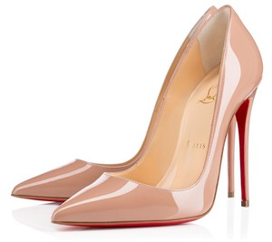 Christian Louboutin Stiletto Classic Chic Patent Leather Pointed Toe Nude Pumps