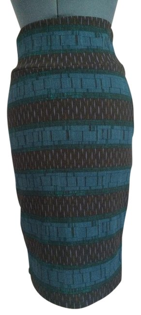 Item - Blue Purple. Black Green Streched Multicolor Skirt Size 4 (S, 27)