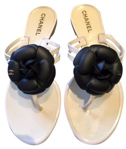 Chanel Camelia Jelly Rubber Thong Black Camelia White Sandals