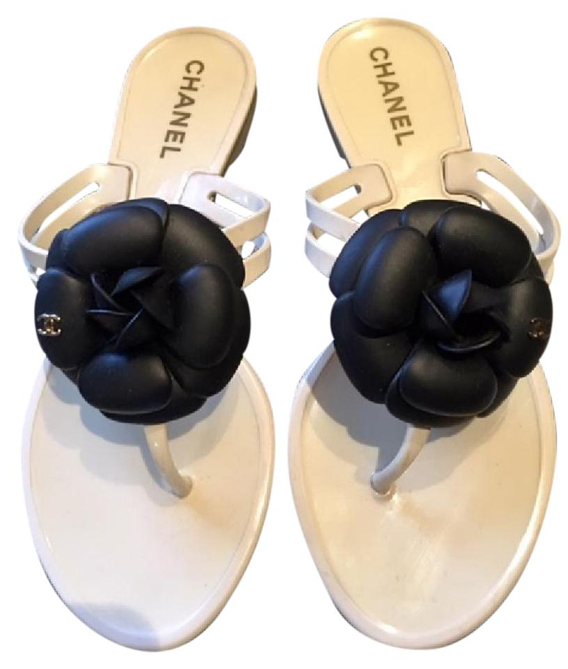 d7b75fbe76c7 Chanel White Jelly Black Camellia with Gold Tone Cc 37) Sandals Size ...