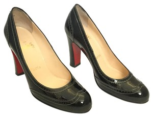 Christian Louboutin Patent Leather Patent Leather Round Toe Stacked Wood Black Pumps