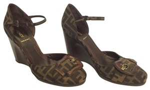Fendi Monogram Buckle Round Toe Ankle Strap Brown Pumps