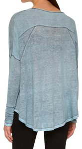 Free People Visible Seams Super Slouchy Dolman Sleeves T Shirt NWT Blue