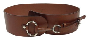 Gucci Brown wide belt with silver horsebit