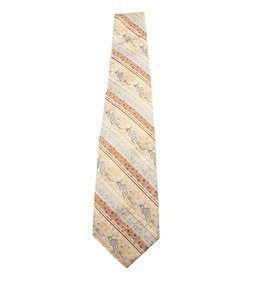 Oscar de la Renta Vintage Multi-Color & Orange Polyester Necktie (43318)