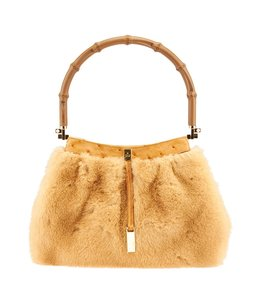 Gucci Pochette Fur Ostrich Wristlet in Brown,Tan