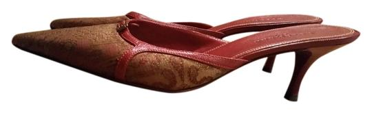 Cole Haan red gold Mules