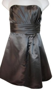 Bill Levkoff Silver Strapless Fit And Flare Satin Polyester Dress