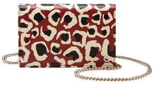 Gucci Leather Handbag Leopard Cross Body Bag