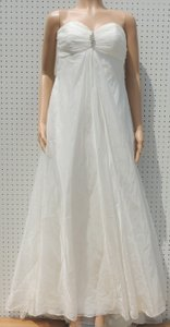 Galina Ivory Polyester Shear Strapless Ruched T9389 Destination Wedding Dress Size 10 (M)