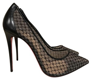 Christian Louboutin Follies Pigalle Lace Leather Stiletto black Pumps