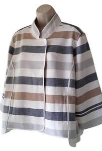 Chico's Striped White/Brown/Gray Jacket