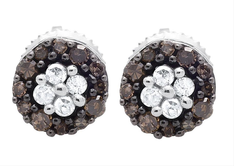 Other 6 5mm Halo Frame Brown And White Diamond Stud Earring 0 33ct