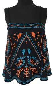 Free People Swing Paisley Cropped Festival Top Navy