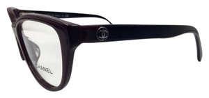Chanel Chanel Cat Eye Burgundy and Black Eyeglasses 3315-A c.1237 53