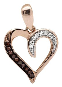 Other Heart Wine Red And White Diamond 1/2 Inch Pendant Charm 0.05ct.