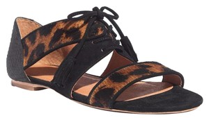 Madewell Lace-up Leopard Suede Flats Sandals