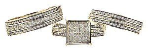 Other Trio Pave Diamond Square Engagement Wedding Ring Set 1.50Ct