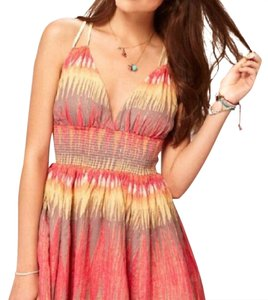 multiple pink colored Maxi Dress by Free People Mini Dress/ Indian Summer Dress Size XS