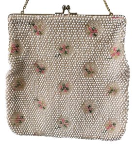 Vintage Corde white with pink and green design Clutch