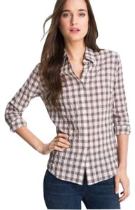 James Perse Button Down Shirt brown white and light lavender