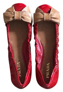 Prada Ballerina Red patent and Tan Flats