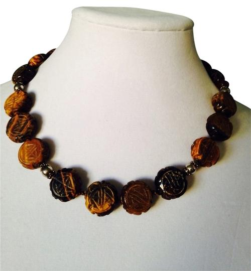Preload https://img-static.tradesy.com/item/2113257/brownsilver-carved-asian-design-tigers-eye-and-sterling-necklace-0-0-540-540.jpg