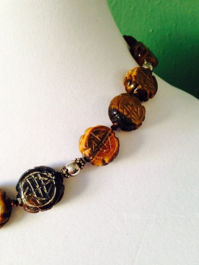 Other Carved Asian Design Tigers Eye & Sterling Silver Necklace