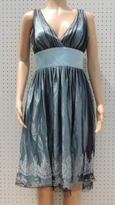 David's Bridal Steel Blue Steel Blue Satin Ruched Tulle Trim Dress