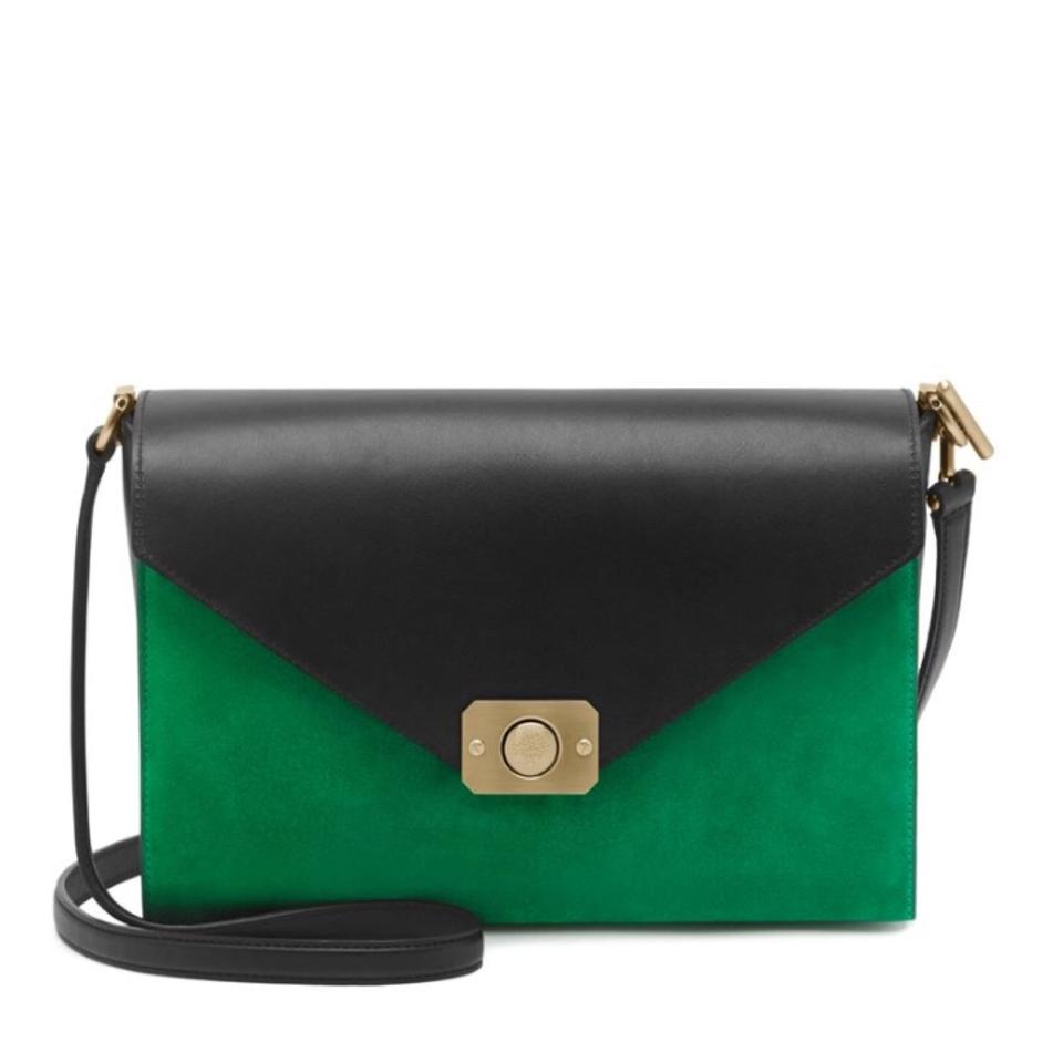 2863edcd59 Mulberry Delphie Black Green Navy Leather and Suede Cross Body Bag ...