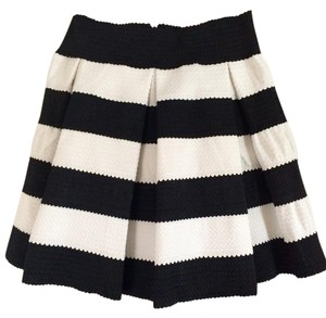 Honey Punch Stripe Poof Skirt black and white
