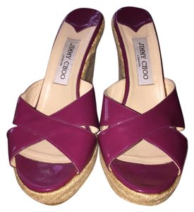 Jimmy Choo Patent Leather Espadrille Pink Wedges