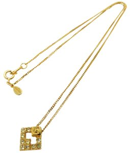 Givenchy GIVENCHY Gold Plated G Rhinestones Logos Vintage Chain Necklace
