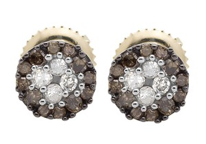 Other 6MM Halo Frame Brown and White Diamond Stud Earring 0.33ct.