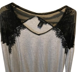 White House | Black Market Top Light Grey with Black Lace