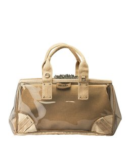 Prada Knit Plastic Satchel in Clear,Tan