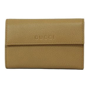 Gucci GUCCI Women's Leather French Flap Wallet 346057 7709 Whisky Beige