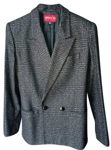 Other Wool Doublebreasted Vintage Tweed Check Gray Blazer