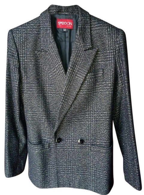 Preload https://img-static.tradesy.com/item/2113331/gray-double-breasted-tweed-plaid-checked-wool-blazer-size-8-m-0-0-650-650.jpg