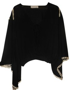 Stella Boutique Bohemian Crop Flowy Embroidered Top Black