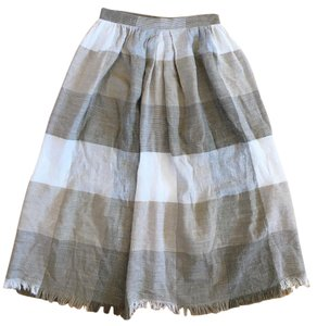 Other A-line Checked Woven Skirt Tan, Off-white, Gray